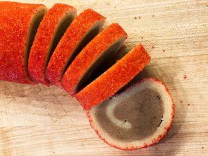red sugar coated pinwheel cookies