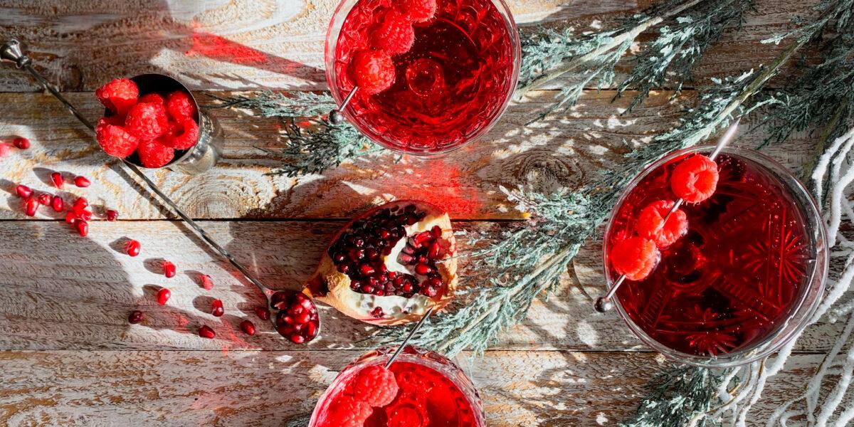 3 glasses of red raspberry pomegranate martini