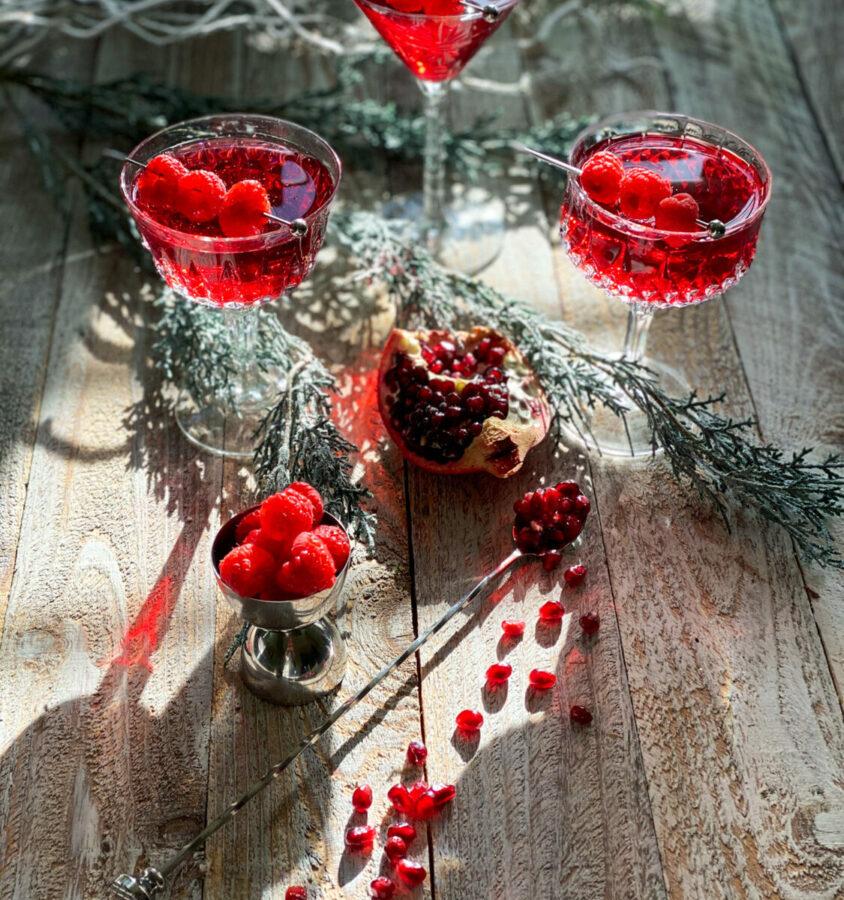 pomegranate raspberry champagne cocktail