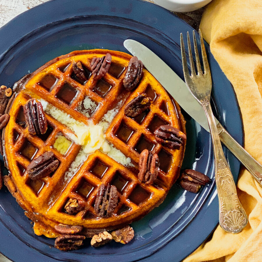 pumpkin spice waffles with spicy pecans