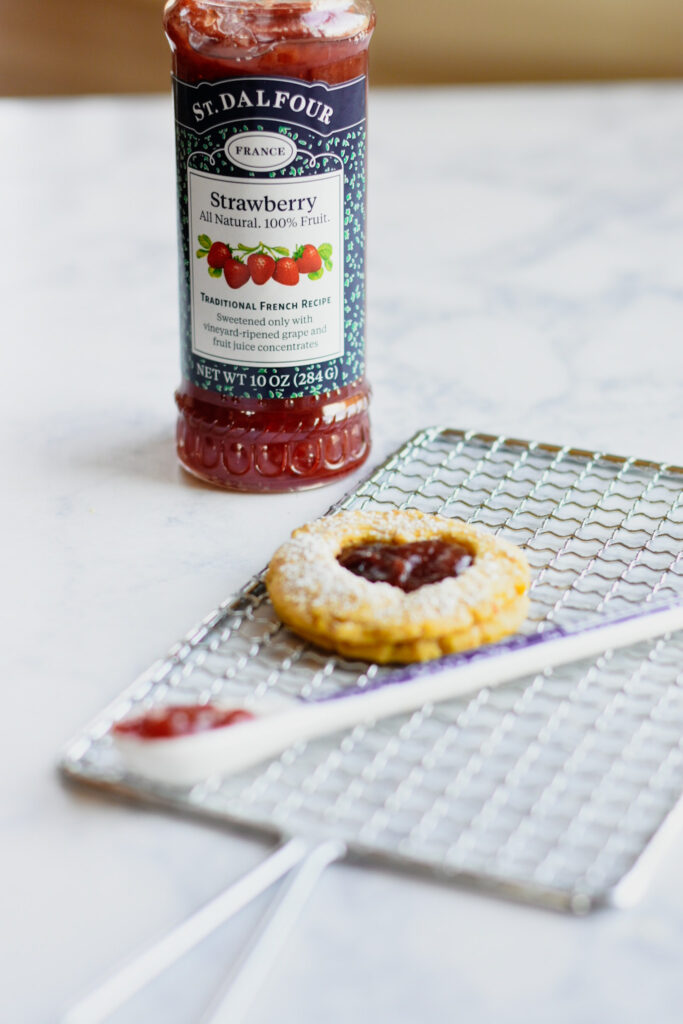 St. Dalfour strawberry jam and cookie