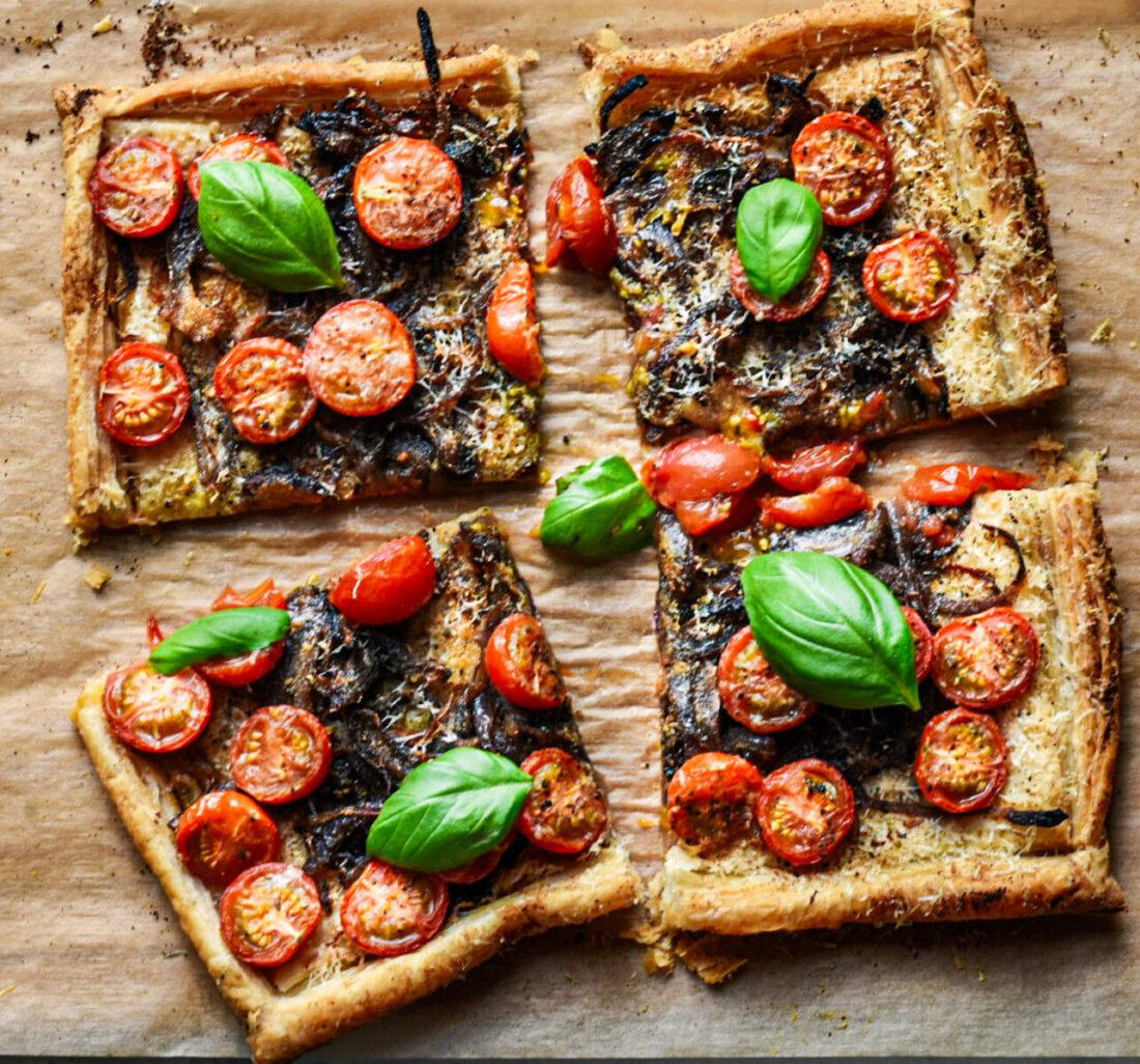 caramelized onion & tomato tart