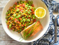seared salmon and edamame succotash