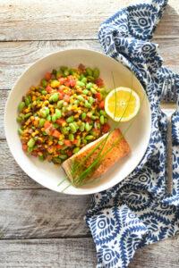 seared salmon and edamame succotash