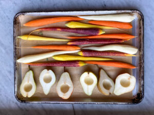 rainbow carrots and pears