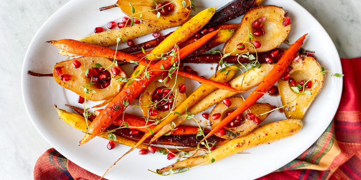 maple bourbon glazed carrots and pears