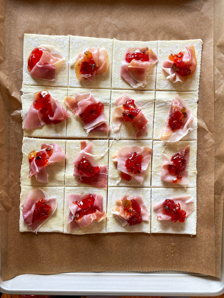 prosciutto, brie, and pepper jelly on puff pastry