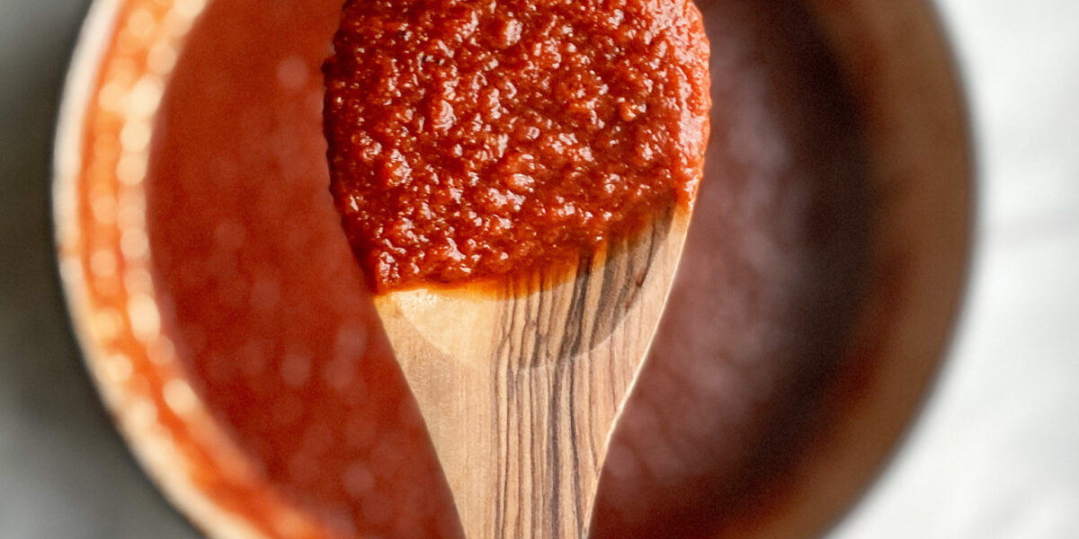 A wooden spoon with tomato sauce and a pot of tomato sauce