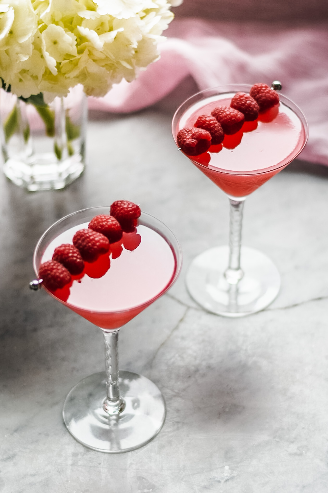 2 Raspberry martinis for valentines day cocktails