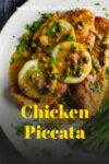 Plate of chicken piccata with asparagus