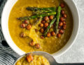 Asparagus soup with garbanzo beans and a spoon of soup