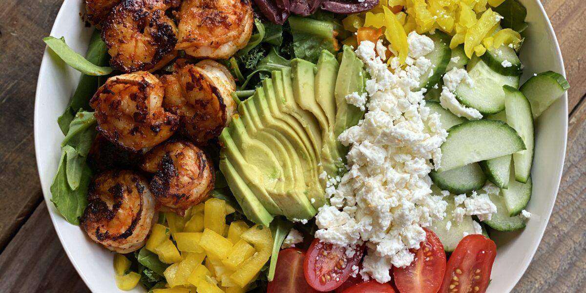 Greek shrimp salad with avocado