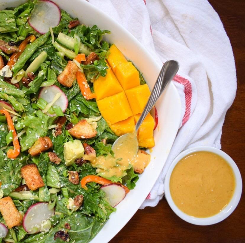 mango tahini dressing on salad