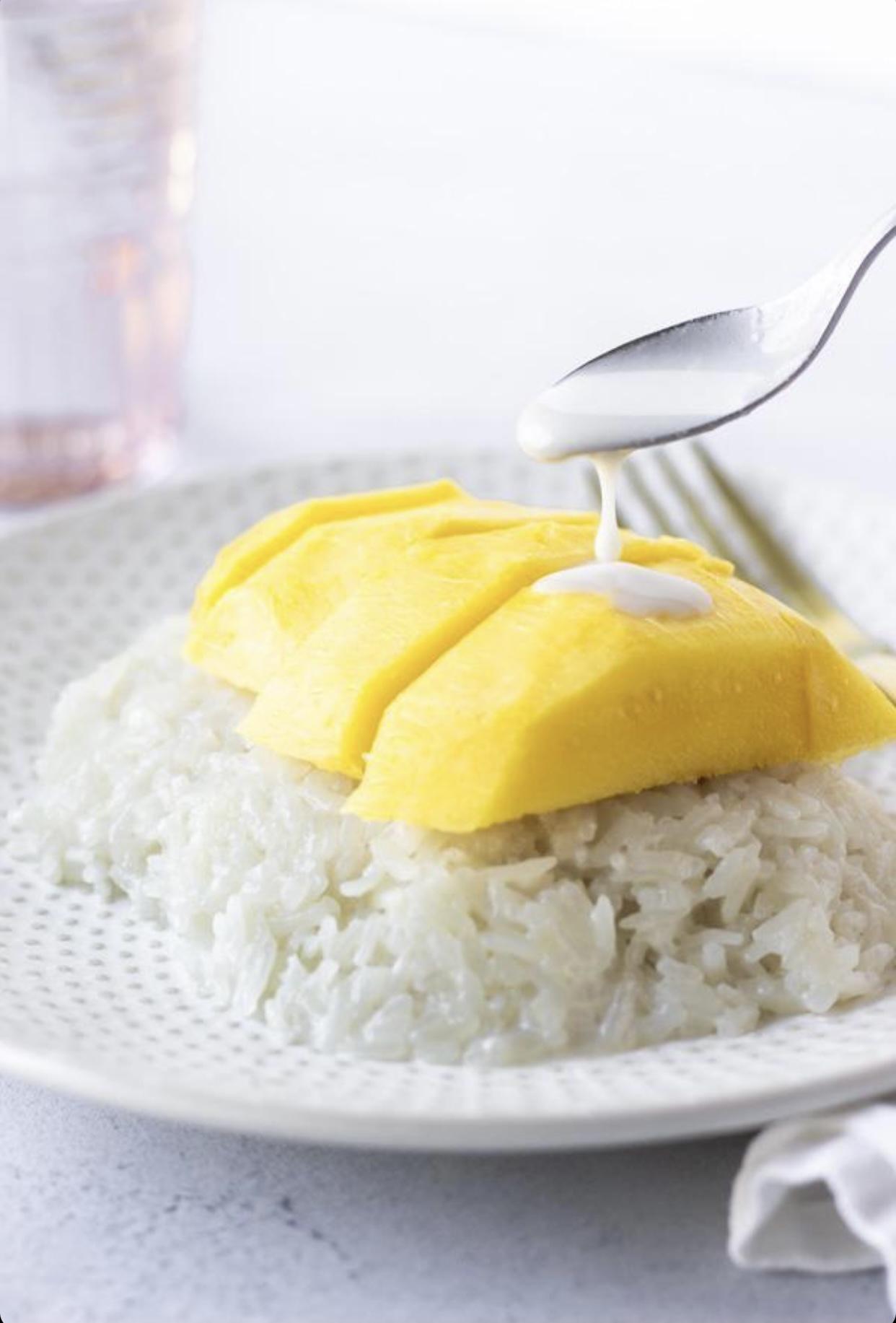 mango recipes of mango on rice with sweet sauce