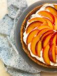 peach cheesecake and blue napkin