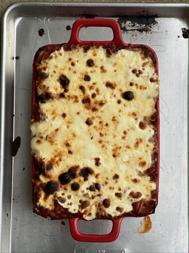 bubbly lasagna on a pan